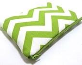 iPad Mini Case, iPad Mini Sleeve, Samsung Galaxy Tab Case, Amazon Fire HD Case, Amazon Fire Kids, Padded Zipper Case, Green Chevron Fabric