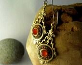 Art Deco Earrings with Carnelian Stone, Red Edwardian Earrings, Dangle Earrings