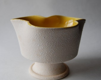 Mid Century Planter, White and Yellow, Textured, Home Decor