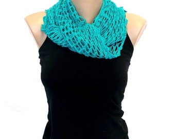Crochet Triangle Scarf Shawl Beach Wrap in Pale Teal