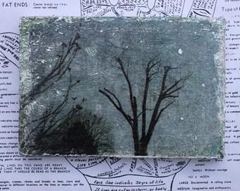 Winter Tree - An Original 4 x 6 Mixed Media Miniature