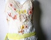 RESERVED FOR KIMBERLY - Autumn Wedding Dress - Non-Traditional Boho Wedding Dress - Reconstructed Slip Dress - Size Medium / Large