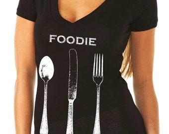 foodie gifts - food gift - chef gift - chef tshirt - cooking gifts - baking shirt - baking gifts - foodie shirt- cook gift-FOODIE-deep vneck