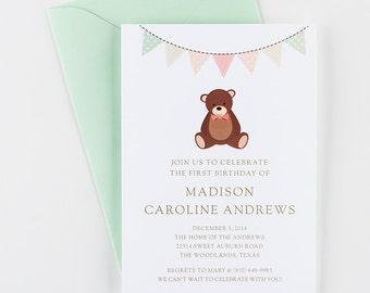 Teddy Bear Invitation for Boys or Girls,  Birthday Invitation For Children