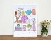 Stitched kitsch kitchen art print vintage fabric collage illustration deer kitchen shelf