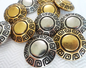 Greek Key Metal Vintage Buttons - 6 Large Silver Coat Blazer 1 1/8 inch for Jewelry Beads Sewing Knitting