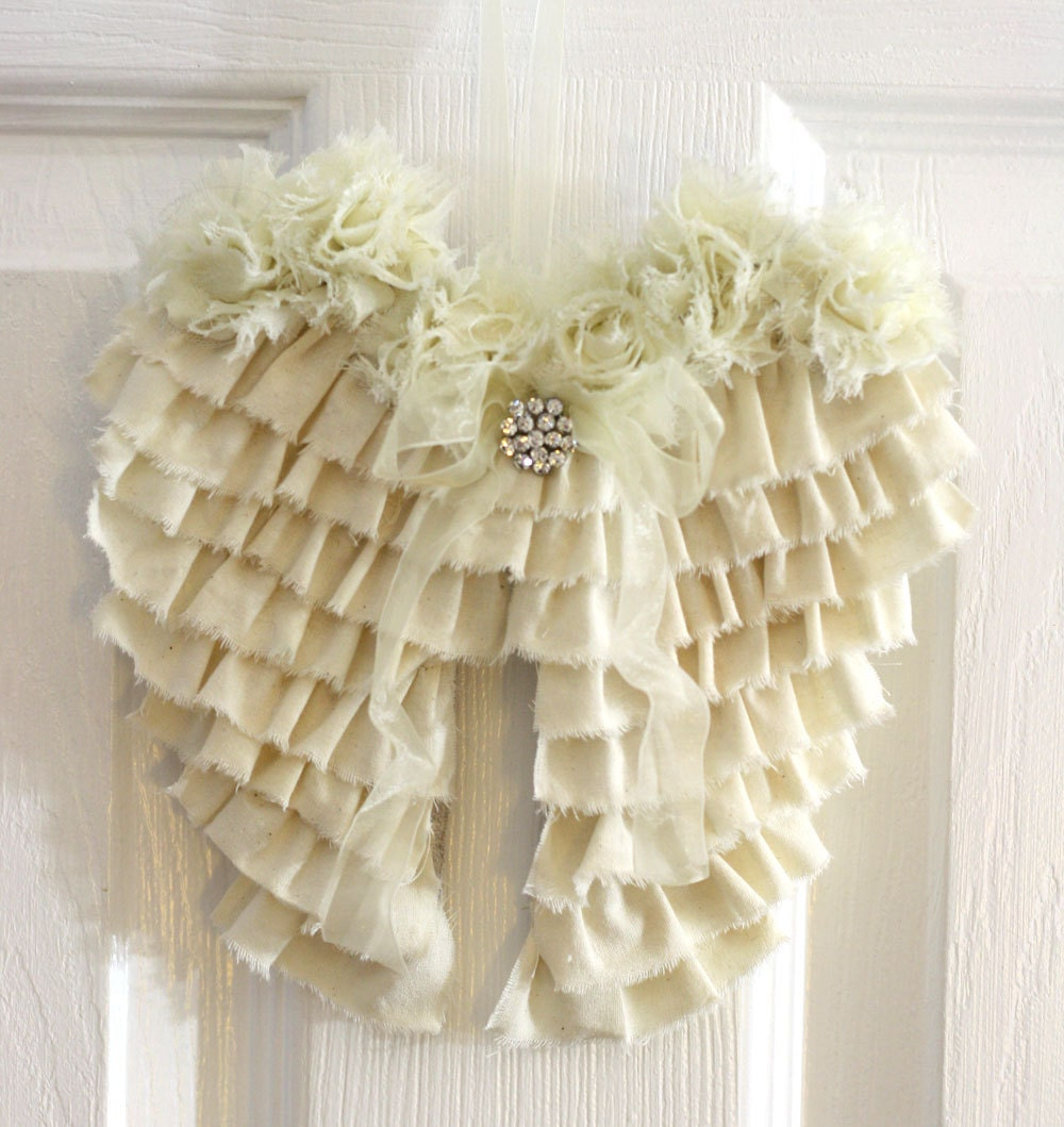 Shabby angel wings wall decor ruffled cottage chic nursery for Angel wall decoration