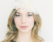 "Silk floral off white hair wreath ""Esme"""