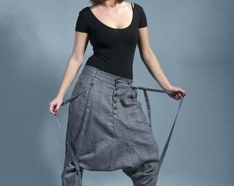 """harem pants modern light grey sarouel woman rock """"Enjoy the silence"""""""