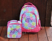 Personalized Multicolor Floral Print Backpack and Lunch Bag Combo