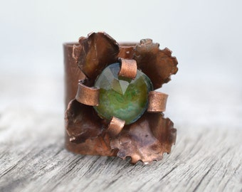 Ring Copper Flower Adjustable Band Hammered Metal Glass Stone Signed