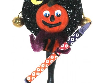 """Mixed Media Sculpture Inspired by Antique German Hallowe'en Folk Art Toys - """"Portrait Rattle - Jack and the 100 Star Roman Candle"""""""
