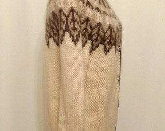 huge sale ! Vintage Fair Isle Cardigan / Nordic Wool Sweater / Handmade Knit Gramps Wool Top / Wool Jacket