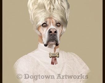 My Sweet Iris, large original photograph of Boxer dog with big bouffant hair wearing vintage dress