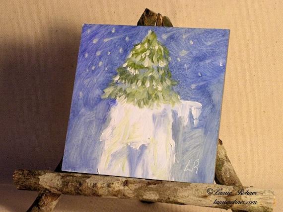 Original Oil Landscape Nature Art Snow