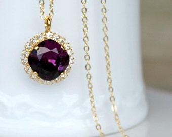 Swarovski Amethyst Crystal Halo Pendant on a Gold Chain, Pendant Necklace