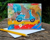 Greeting Card - Vespa teal turquoise scooter with Daisies - Inspiring Love Adventure Travel Card