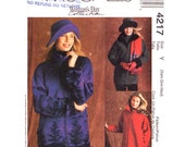 Womens Sewing Pattern  Unlined Raglan Fleece Jacket McCalls 4217 Zipper Front Coat Pockets Brim Hat Women Size 4 to 14 UNCUT