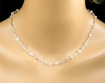 Crystal Necklace, Clear AB Swarovski Crystal Bridal Necklace, Bridal Wedding Jewelry, Bridesmaid Jewelry – Rachael WN0195