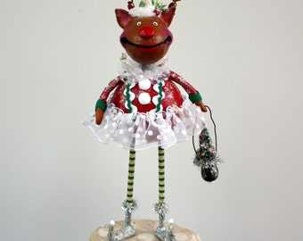Christmas Reindeer Whimsical Folk Art Doll