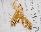 Gold  HAND EARRINGS Frida Kahlo Charms Whimsical Palmistry Fortune Teller Jewelry Horror Macabre Costume Jewelry
