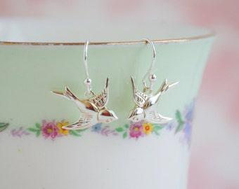 Silver BIRD EARRINGS Flying Swallow Woodland Bird Wedding LOVEBIRDS