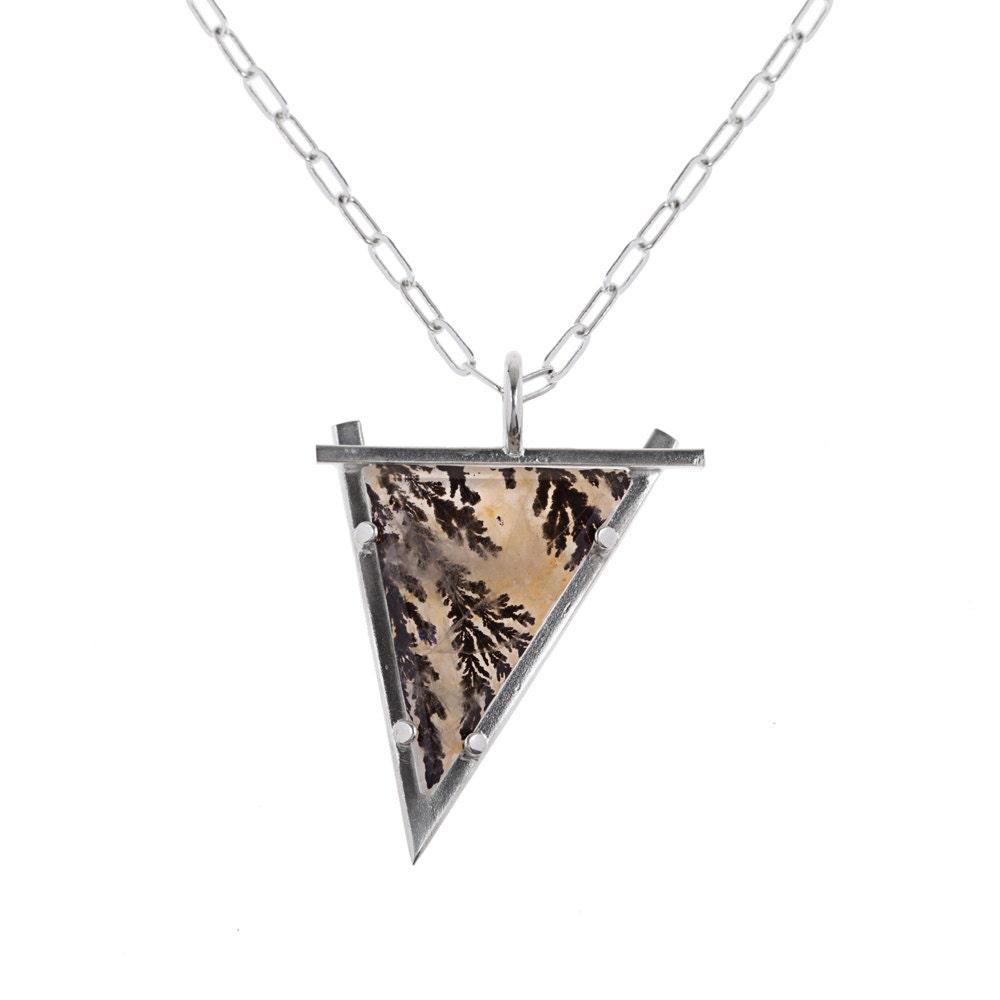 Dendritic agate pendant fractals in quartz stone necklace dendritic agate pendant fractals in quartz stone necklace big stone long chain aloadofball Choice Image