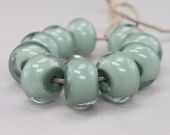 Aloe Vera  encased with clear - 10 handmade lampwork beads