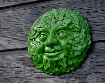 Green Man 'Oswine' plaque cast stone relief sculpture handpainted (green version)