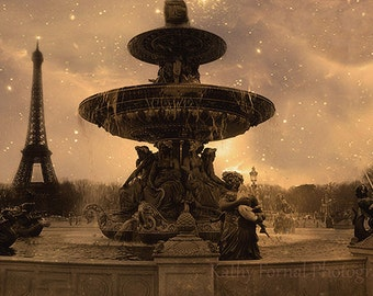 Paris Photography, Place de la Concorde Fountain, Paris Sepia Prints, Paris Large Wall Art, Paris Sepia Wall Art Prints, Paris Landmarks Art
