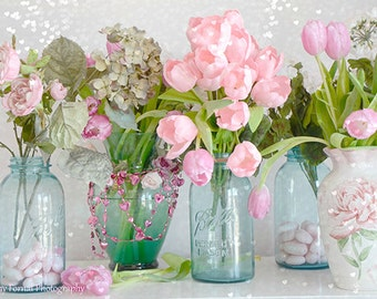 Shabby Chic Flower Photography, Dreamy Tulips Roses Mason Jars Print, Summer Garden Flower Prints, Aqua Teal Pink Flowers Mason Jars Print