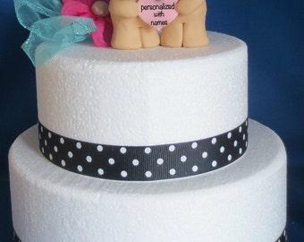 Hugging Honey Bear Teddy Bear Wedding Cake Topper Holding Personalized Heart