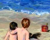 Beach Boys art print, beach paintings, sea ocean sand 8 x 10 by Hope Lane boys, beach, two brothers, beach children