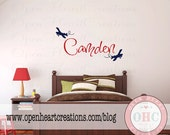 Airplane Vinyl Wall Decal Personalized with Name - Boy Name Monogram Vinyl Wall Decal - Kids Wall Decals 22H x 36W FN0557