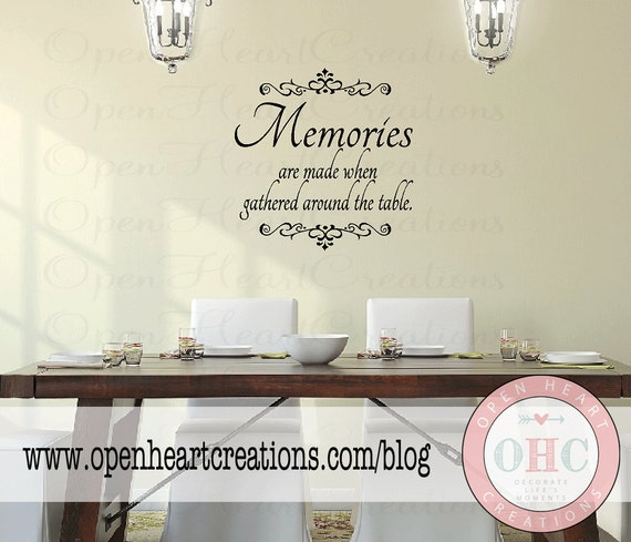 Wall Decal Quotes For Dining Room : Dining room wall decal quote memories are made when gathered