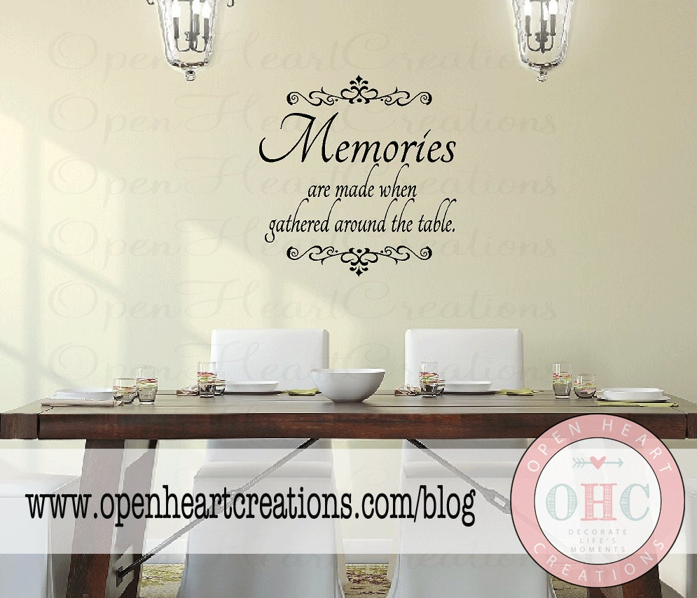 Dining room wall decal quote memories are made when gathered for Dining room quote decals