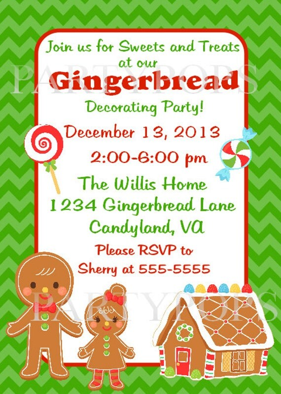 Items similar to gingerbread party invitation printable Gingerbread house decorating party invitations