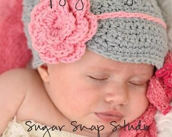Gray and Pink newsboy Hat, Baby Girl Newsboy Hat, Crochet baby hats, Hats for Girls, Hats for Babies