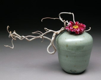 Handmade Stoneware Altered Wheel Thrown Vase Floral Container Glazed with Satin Celadon for a soft green finish