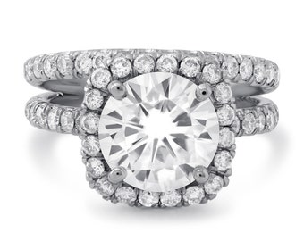 Round Cut diamond engagement ring & band wedding set with Halo and U shape micro pave diamonds