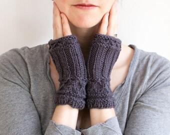 Fingerless Knit Mittens in Dark Gray Wool, Willow Mittens (A02)