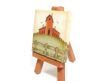 Mini  Canvas Primitive Barn Painting With Easel
