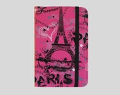 Kindle Cover Hardcover, Kindle Case, eReader, Kobo, Kindle Voyage, Kindle Fire HDX, Kindle Paperwhite, Nook GlowLight Pink and Black Paris