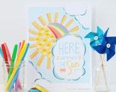 Here Comes the Sun, Sunshine, Rainbow, Nursery Art, Gir'ls Room, Boys Room, Nursery Decor, Kids Room, Children's Art, 8 x 10 Art Print