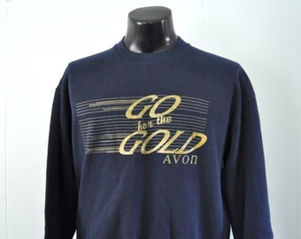 Vintage Sweatshirt Avon Go for the Gold 80s Navy Blue LARGE