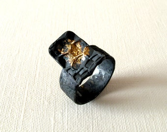 Honeycomb Silver and Gold Ring Oxidized Silver With 18kt Gold Powder Us Size 8 1/4 Gold Jewelry