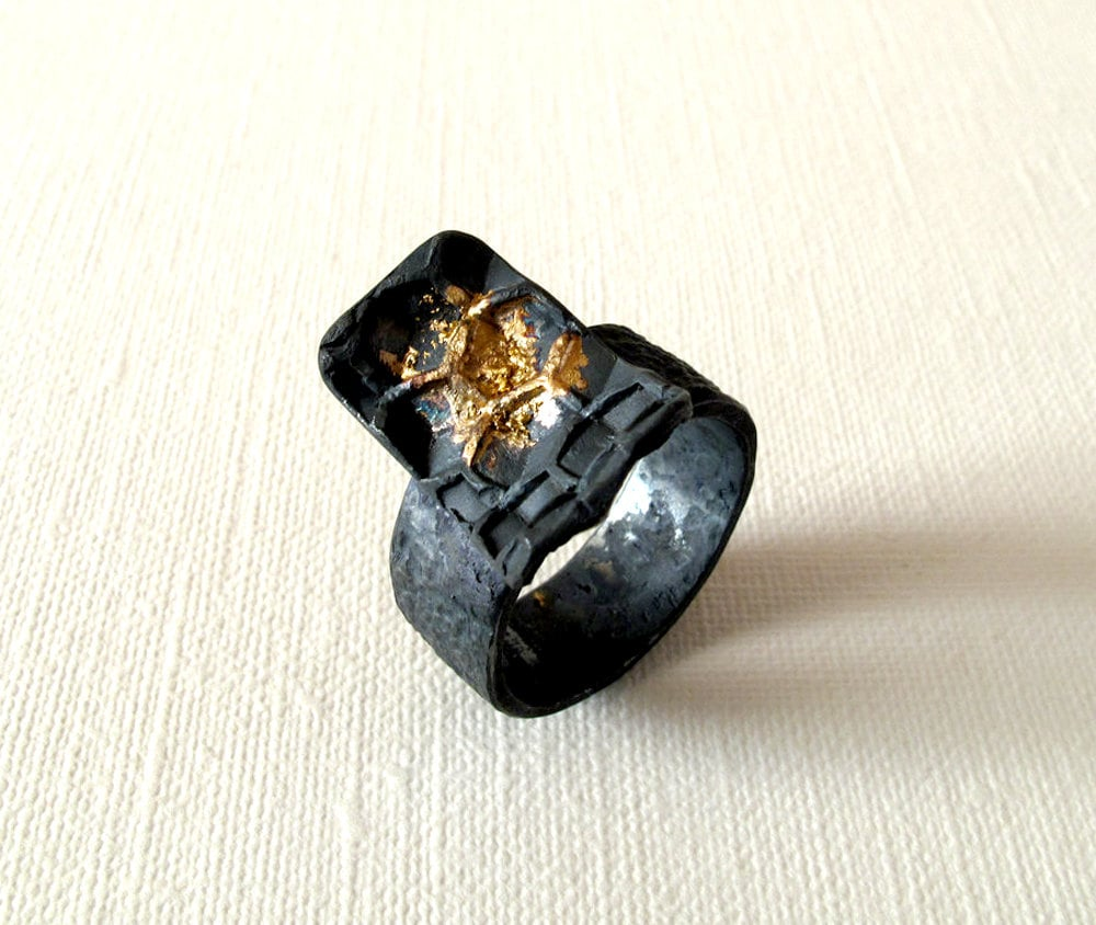 honeycomb silver and gold ring oxidized silver with 18kt gold