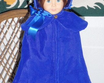 1812 3 Pc Regency Era Cloak Capelet Bonnet for American Girl Caroline 18 inch doll