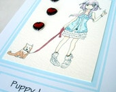 "Puppy Love card - Anime card - teen birthday card - greeting card - 3.75"" x 5.5"""