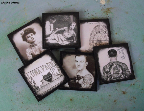 Vintage tattoos coasters set of 6 wooden coasters ink for Tattoo cork ink